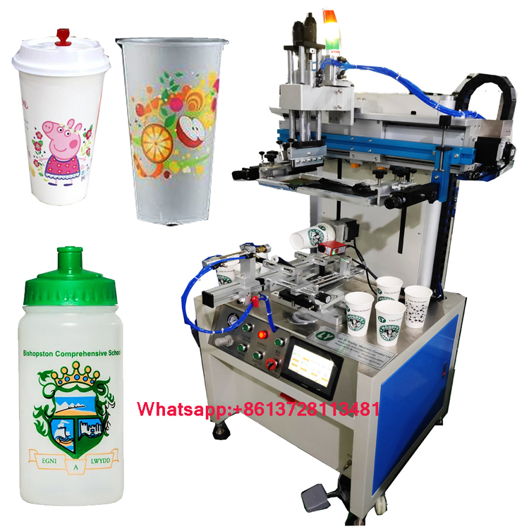 Servo motor cup bottle screen printer with auto registration